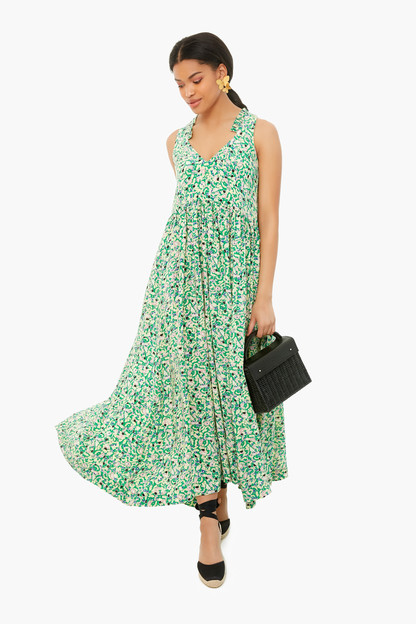 green la salade grecque screen printed silk long dress