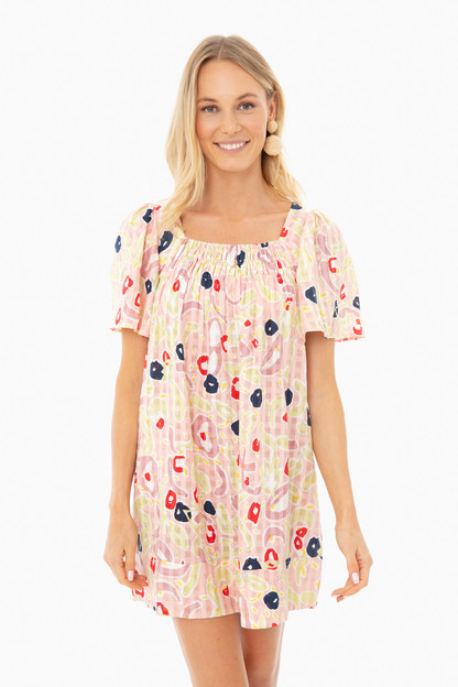 pink la salade grecque printed short dress
