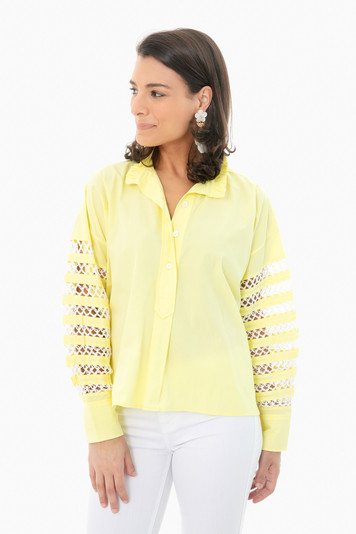 olive oil hand crocheted patchwork sleeve shirt