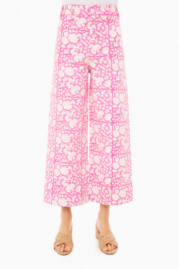 pink and white floral disco pants