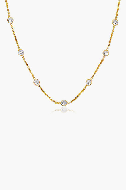 14k gold cz long links necklace