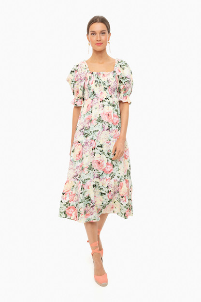 venissa floral de christin midi dress