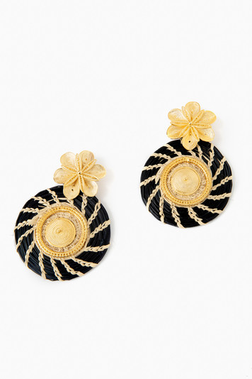 navy iraca rhapsody garden maxi earrings