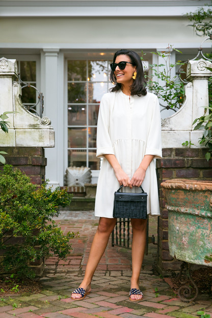 ivory silk royal shirt dress