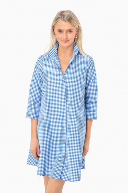 blue gingham charlie dress