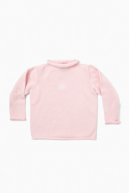 pink roll neck sweater