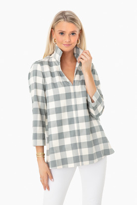 sage gingham margot top