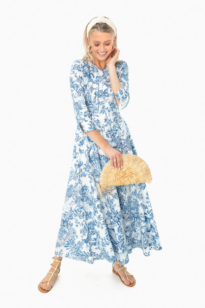 blue toile tally dress