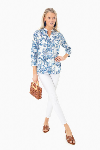 blue toile serena blouse