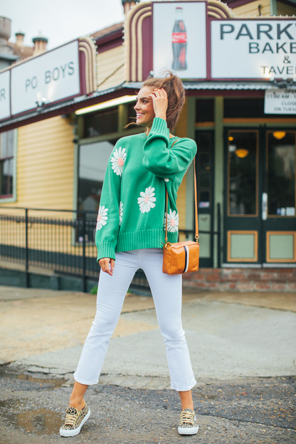 grass green miss daisy sweater