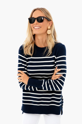 navy bar harbor striped sweater