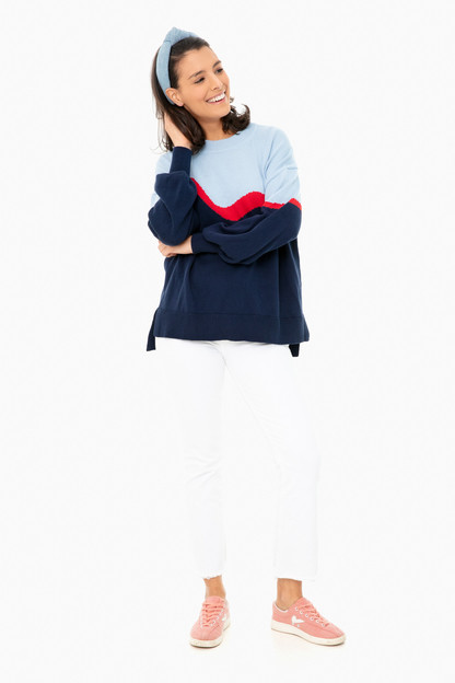 blue colorblock parker sweater