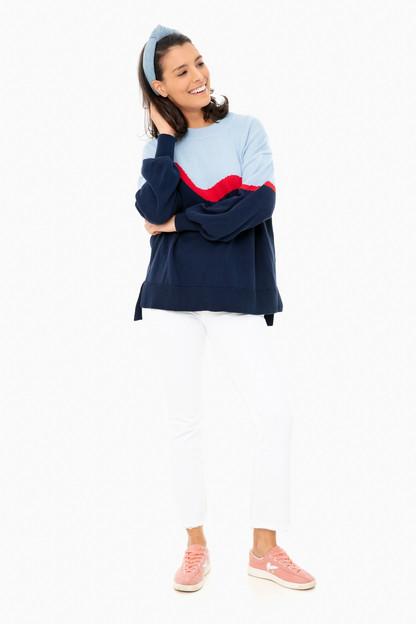 blue colorblock parker sweater