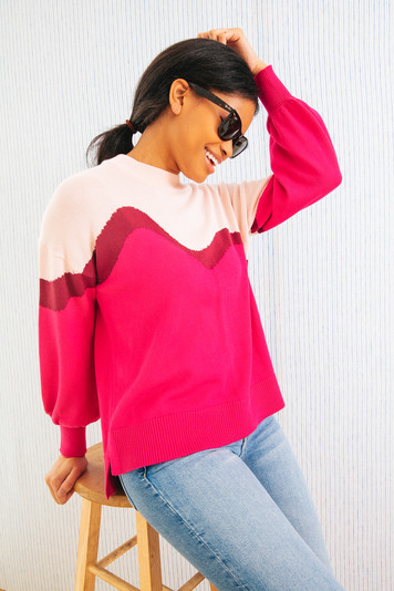 pink colorblock parker sweater