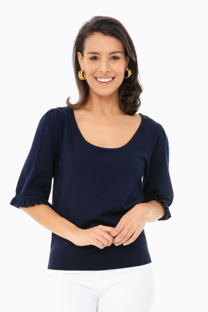 navy perrin ruffle sweater