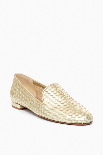 gold woven trenzado loafers