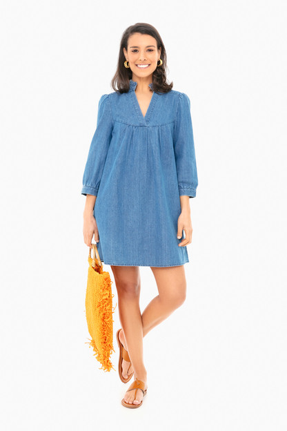 chambray ruffle neck dress