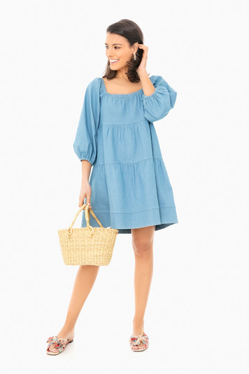 chambray square neck dress