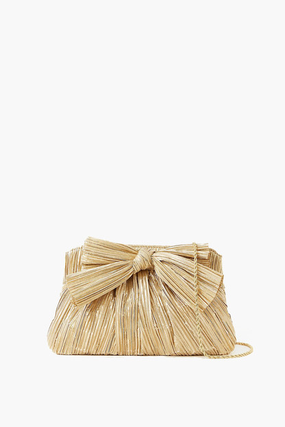 gold rayne pleated frame clutch
