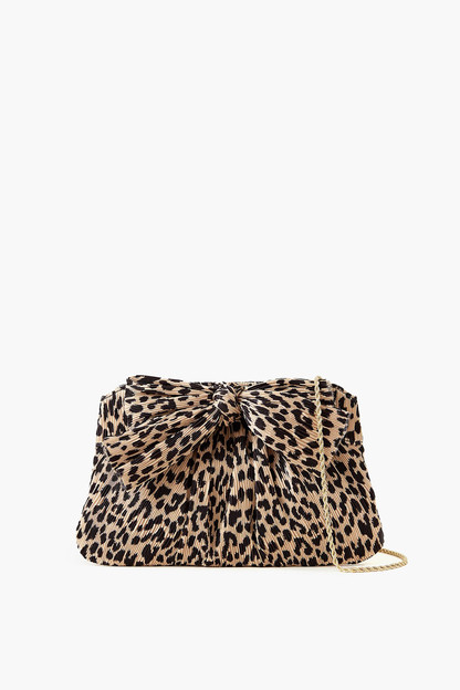 leopard rayne pleated frame clutch