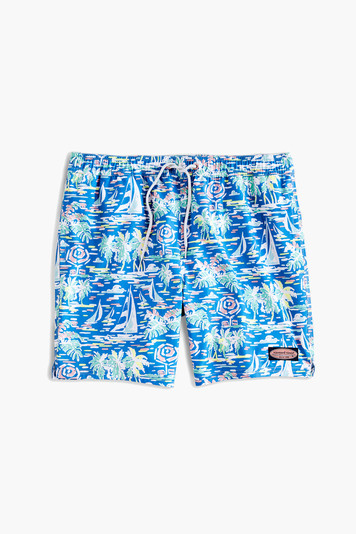 azure blue printed chappy trunks
