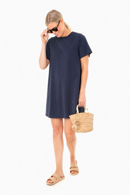navy zoe mini tee dress