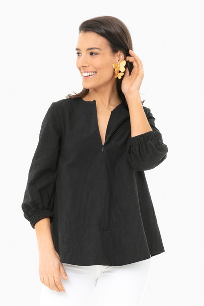 black seersucker kieran blouse