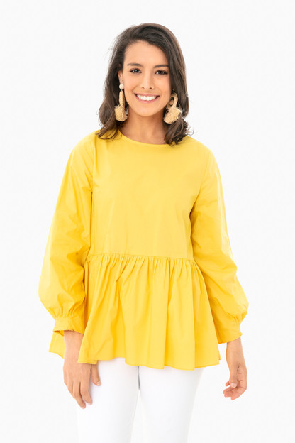yellow olivia peplum top