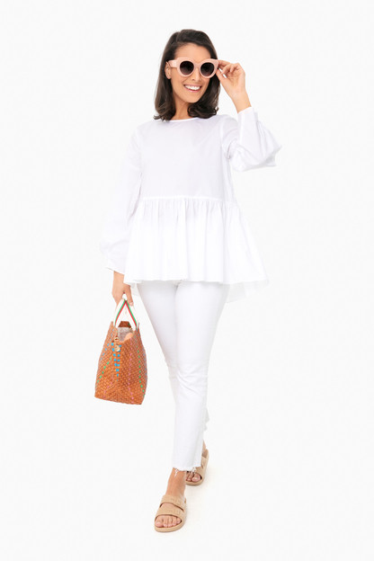 white olivia peplum top