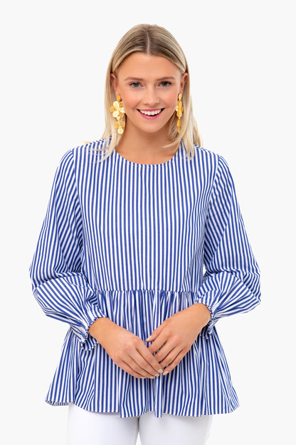 Olivia Striped Peplum Top