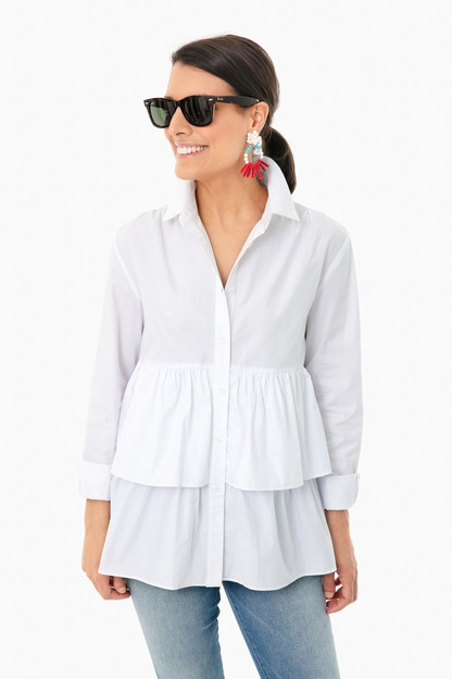 white poplin georgie tiered shirt