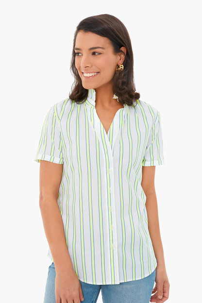 neon stripe short sleeve loose back