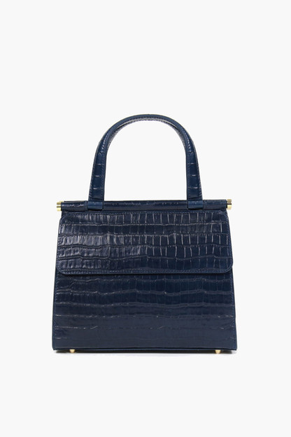navy croc embossed good day bag