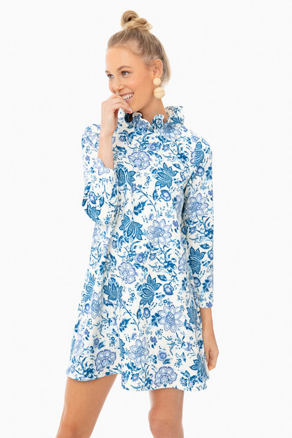 blue chintz floral daphne dress
