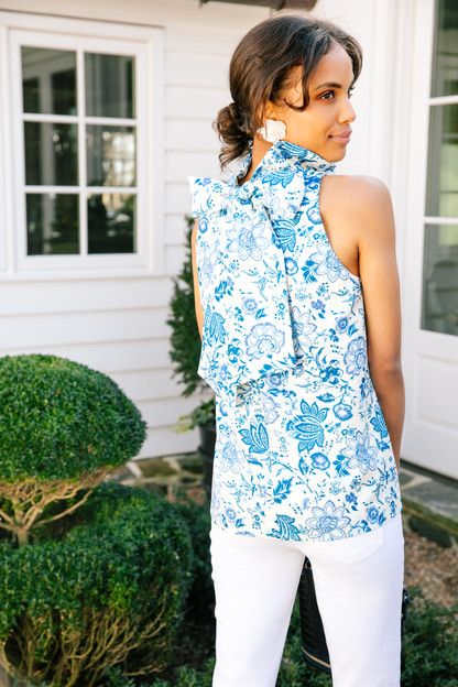 blue chintz floral mason blouse