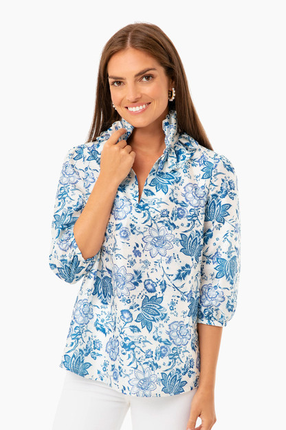 Blue Chintz Floral Ruffle Neck Bouvier Blouse