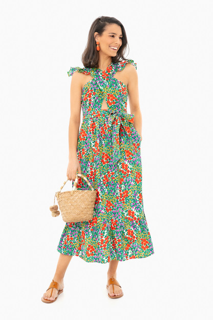 cottage garden poppy multi cecil dress