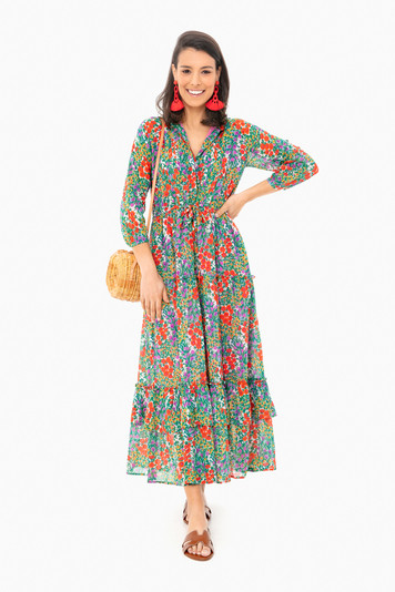 cottage garden poppy multi bazaar dress