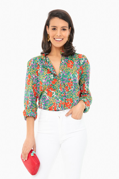 cottage garden poppy multi chrissie shirt