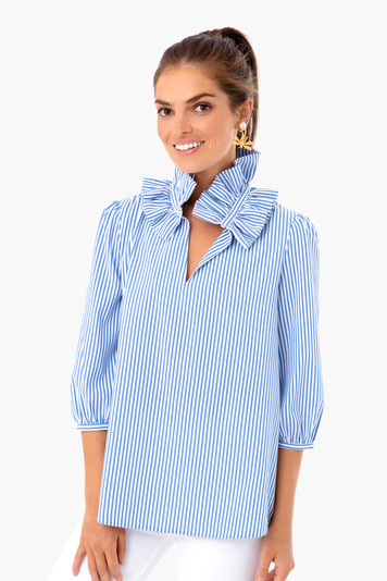 blue stripe ruffle neck bouvier blouse