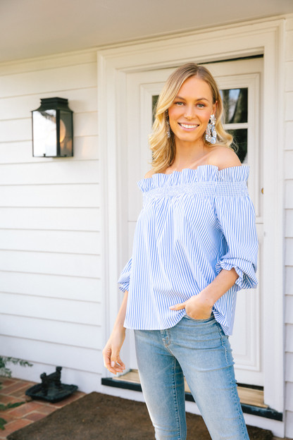 Blue Striped Off the Shoulder Marguerite Blouse