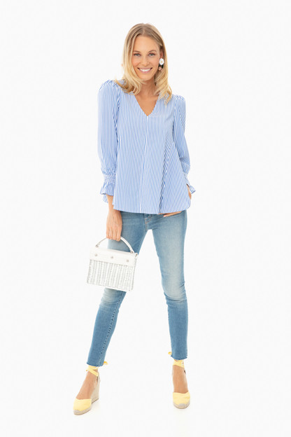 blue striped easton blouse