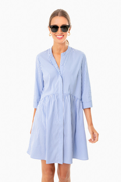 blue stripe royal shirt dress