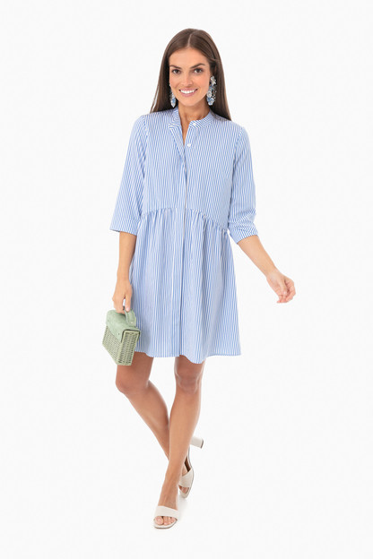 blue stripe royal shirt dress