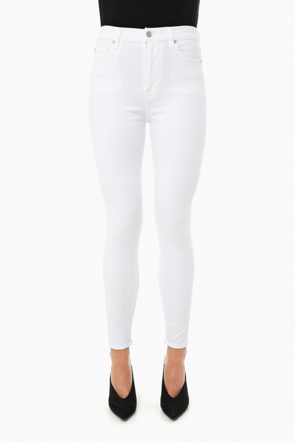 luxe white high waisted ankle skinny