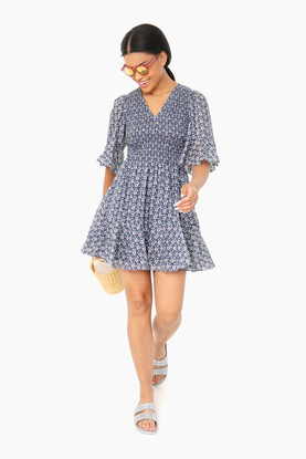 soft indigo combo short sleeve petula smock dress
