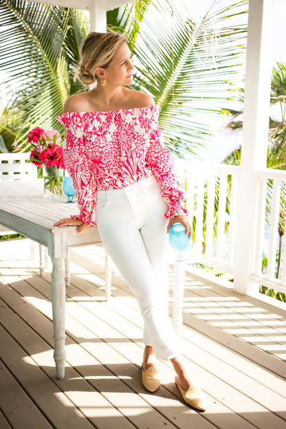 hot pink wildflower marguerite off the shoulder blouse