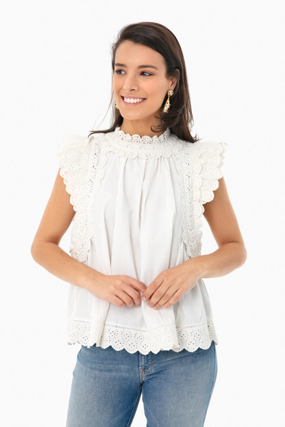 White Marina Flutter Sleeve Top