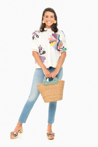 multi patchwork paloma puff sleeve top