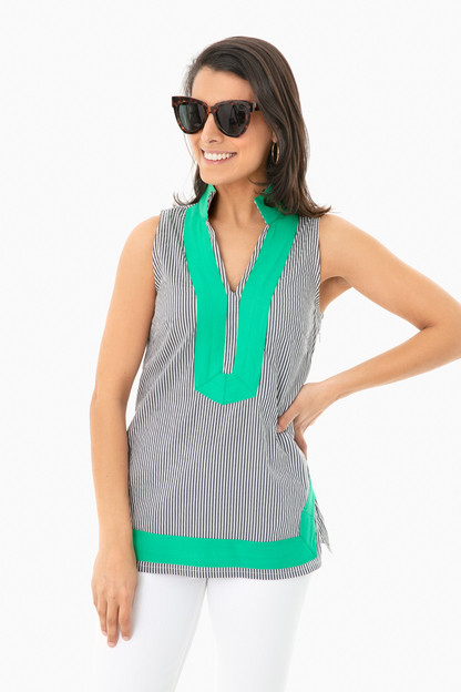 striped sleeveless tunic top